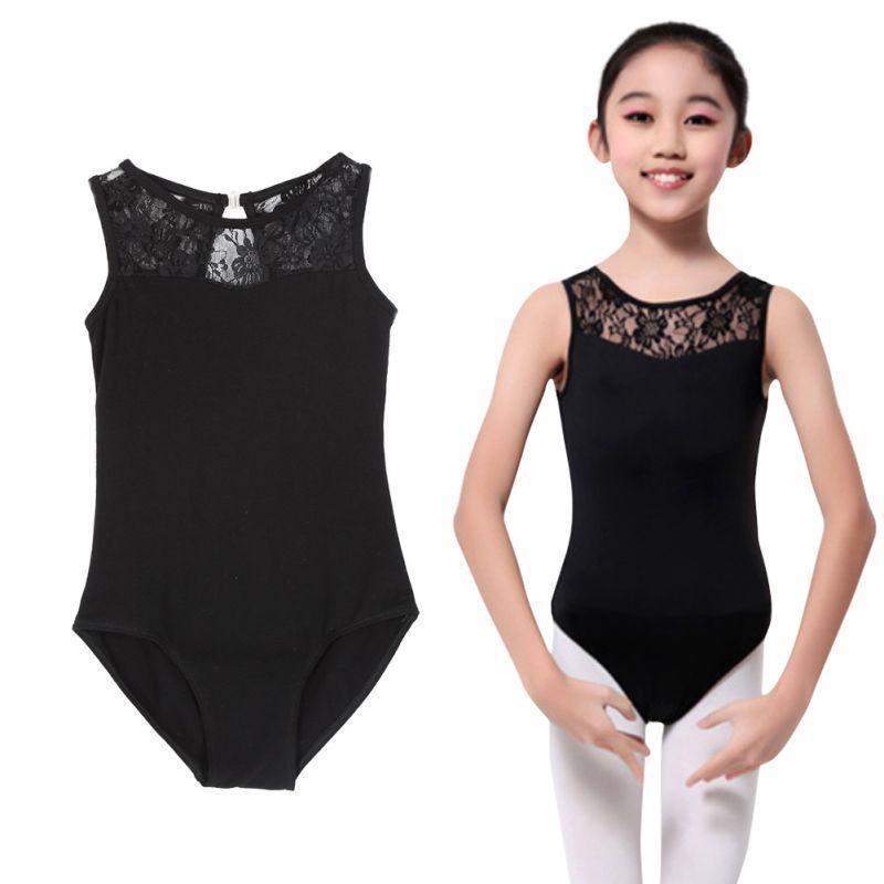 1c0109747c32 2019 Cotton Lycra Lace Black Tank Dance Leotard With Open Back Girls ...