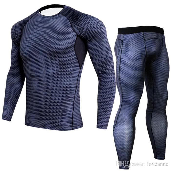 New Men T shirts Trousers Set Men's Sportswear Compression Suit Joggers Fitness Base Layer Shirt Leggings Rashguard Clothes