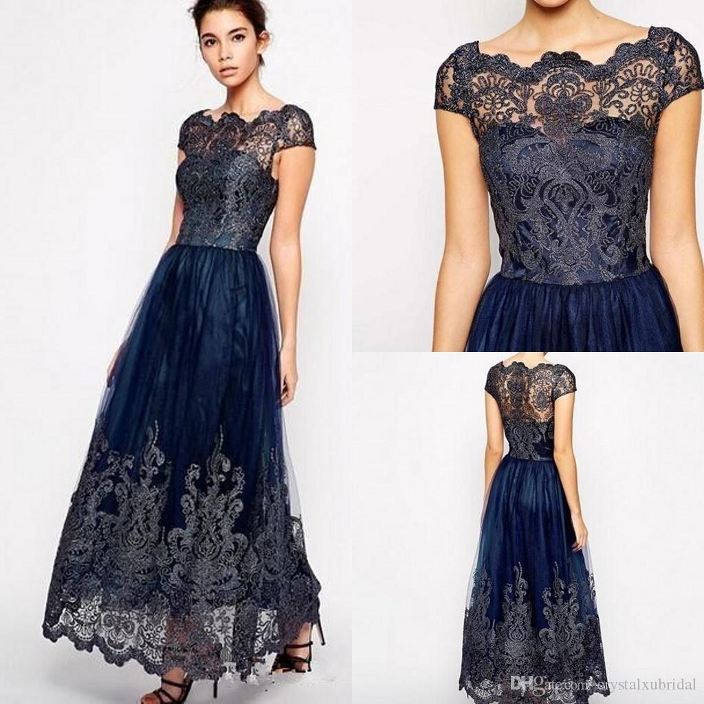 89d544b82ef Vintage Mother Off Bride Dresses 2018 New Cap Sleeve Plus Size Tulle Navy  Blue Lace Appliques Long Ankle Length Women Formal Mothers Gowns Mother Of  The ...