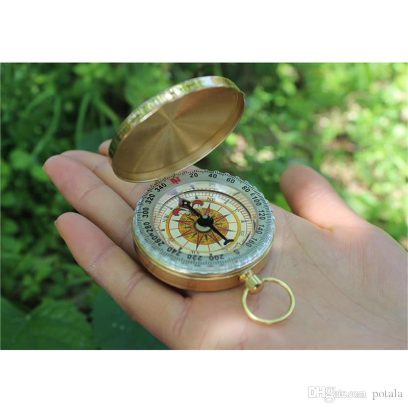 Camping Hiking Portable Brass Gold Compass Mini Navigation for Outdoor Activities Sports Novelty Toys Finger Gag Kid Toys Gift Xmas Birthday