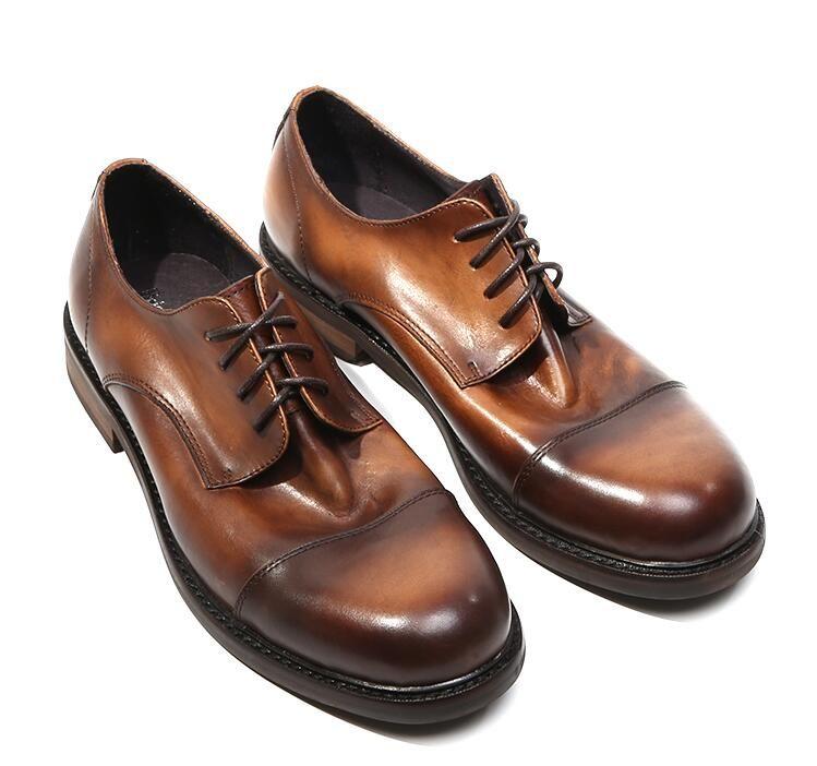 Handmade Dress Shoes Men Lace Genuine Soft Leather Flats Smart