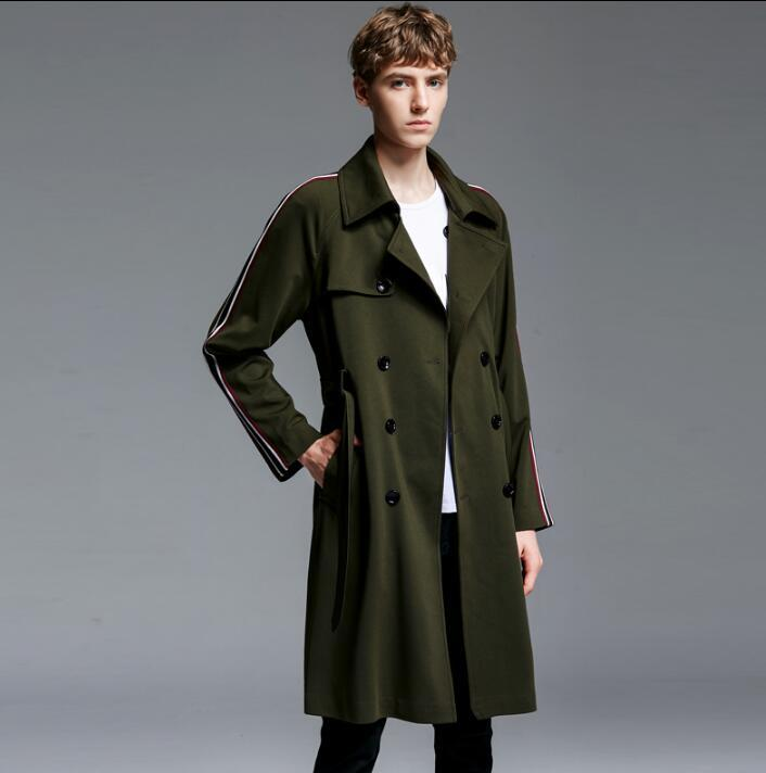 50% off hot-selling real super service New designer mens trench coats man long coat men clothes slim fit overcoat  long sleeve loose spring autumn fashion army green