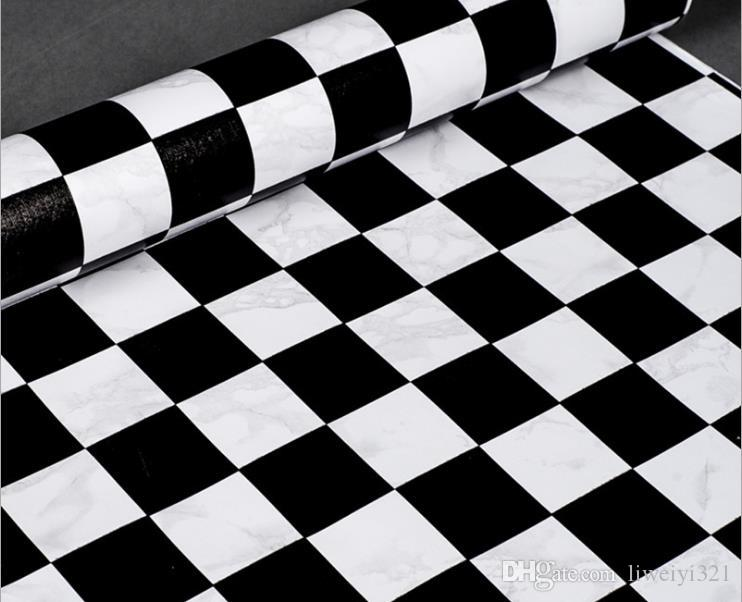 Black And White Diamond Chequered Or Checkered Wallpaper Vinyl Marble Rhombus Wall Paper Covering For Living Room Bedroom 3D Online With