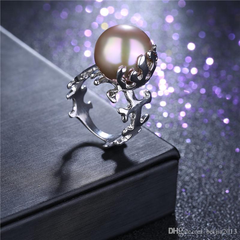 Personalidad Único Anillo de Moda Oro Blanco 3D Espina de pez Anillo de Perla Mujeres Mujer Cristal anillos de boda Regalo Moda joyería de la declaración