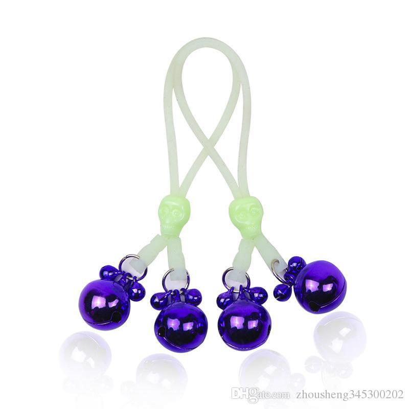 BDSM Bondage Toys Clitoride Clit Nipple Clamps Set Teschio regolabile con corda luminosa Campane in metallo Giocattoli adulti donne