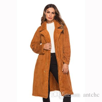 Brand Women s Winter Long Plush Coats 2018 New Hot Lapel Vertical ... eef523dc7