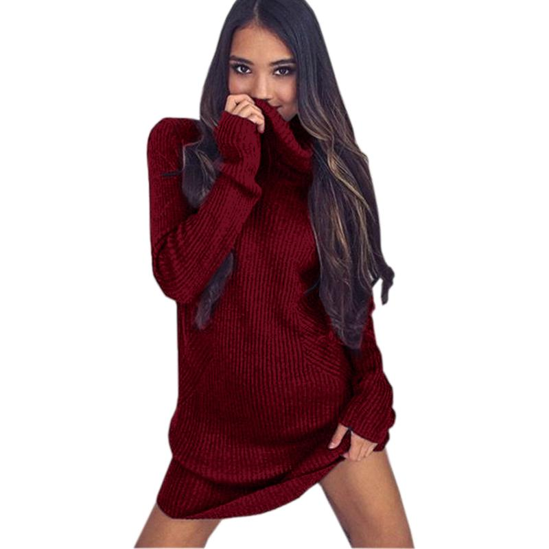 294ae4d0220e Winter Knitted Stretch Women Sweaters Dress Autumn Turtleneck Sweater  Dresses Full Sleeve Loose Pullovers Mini Dresses GV380 Shopping Womens  Dresses ...