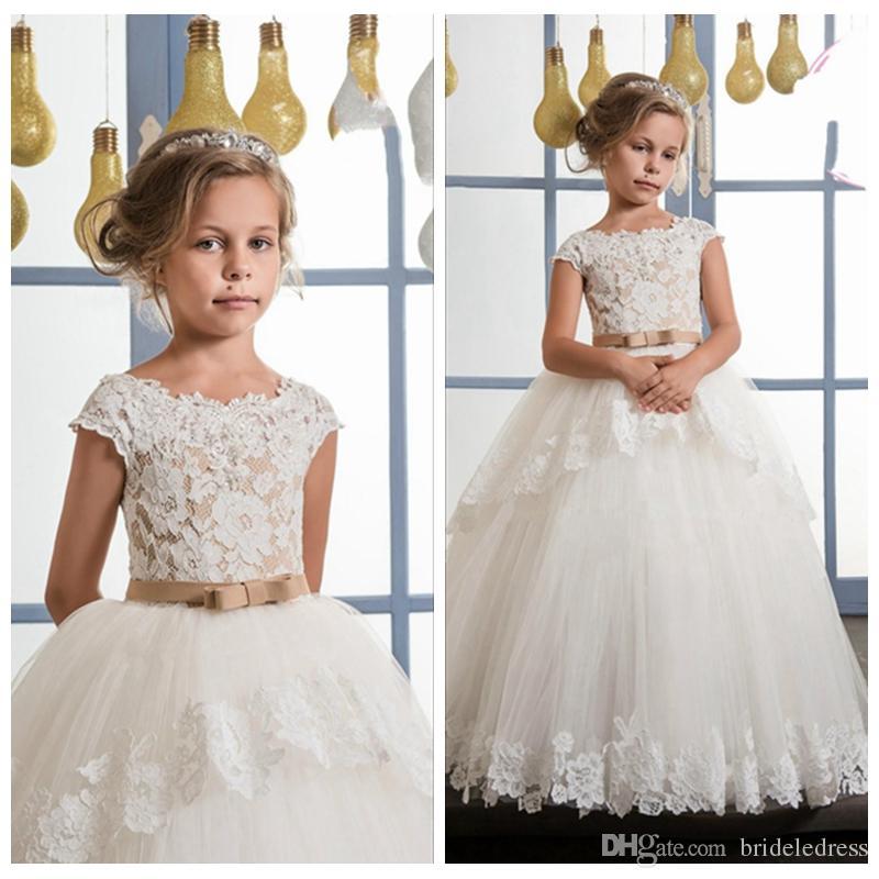 aaa1515ed Cute White Scoop Neck Kids Formal Wear Gowns Flower Girl Dresses For ...