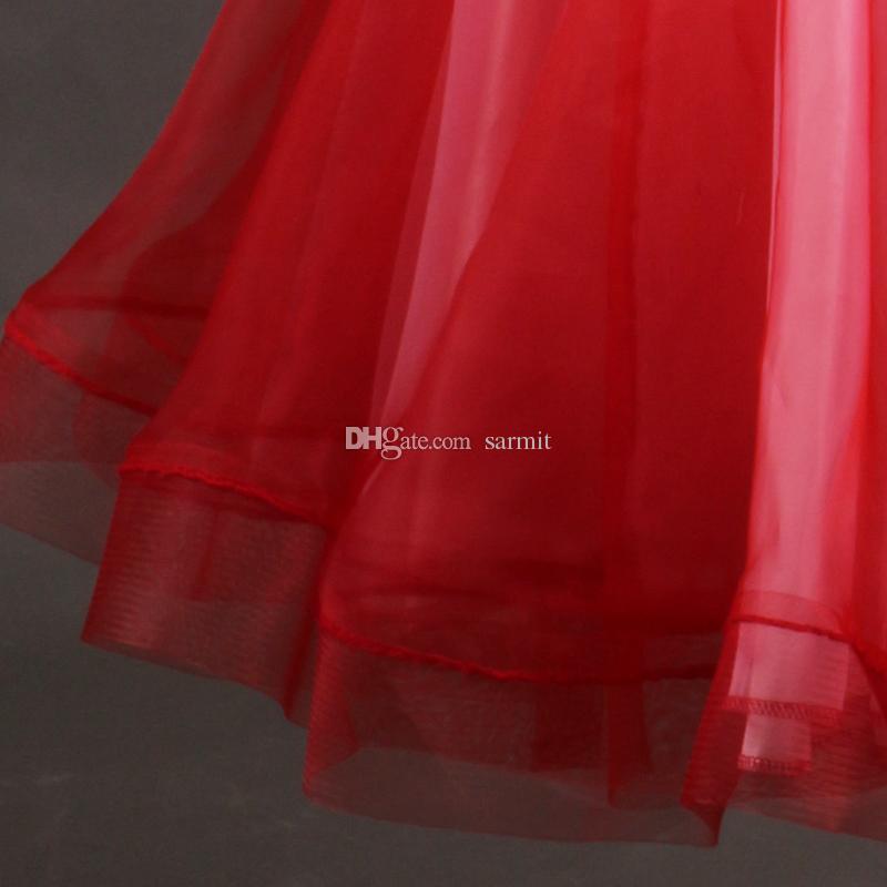 Vestido de salón de baile estándar de lujo 2018 Vestidos de competencia de baile de salón de vals Vestidos D349 Terciopelo Rojo 1 Hombros de diamantes de imitación Big Sheer Hem Bra Cup