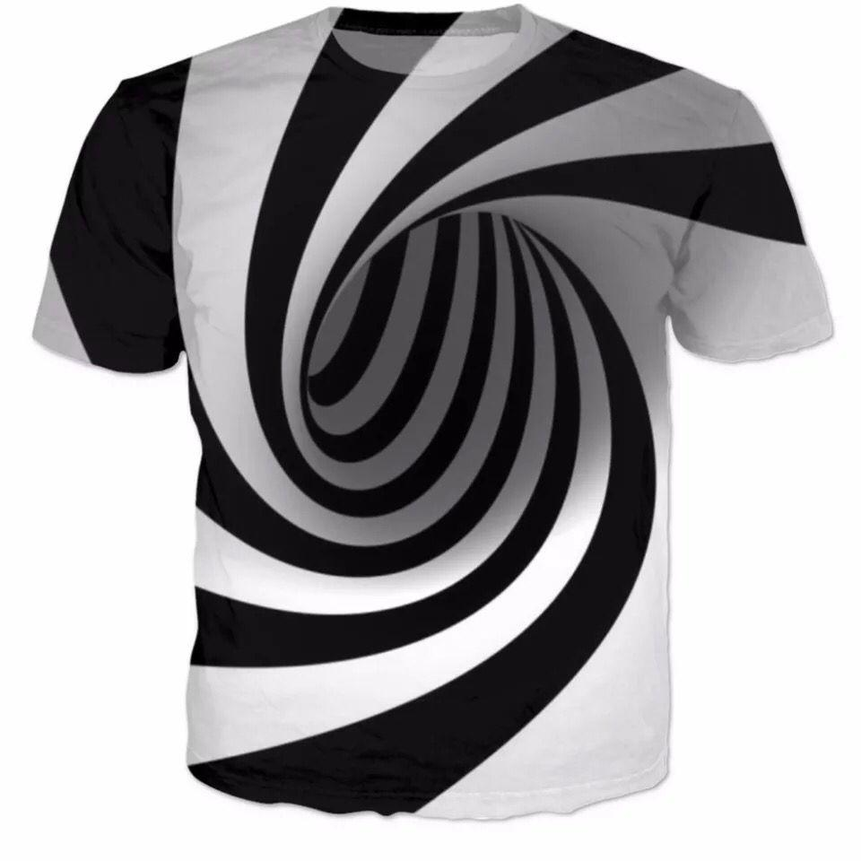 2018 New Fashion T Shirt Menwomen 3d T Shirt Print Black And White