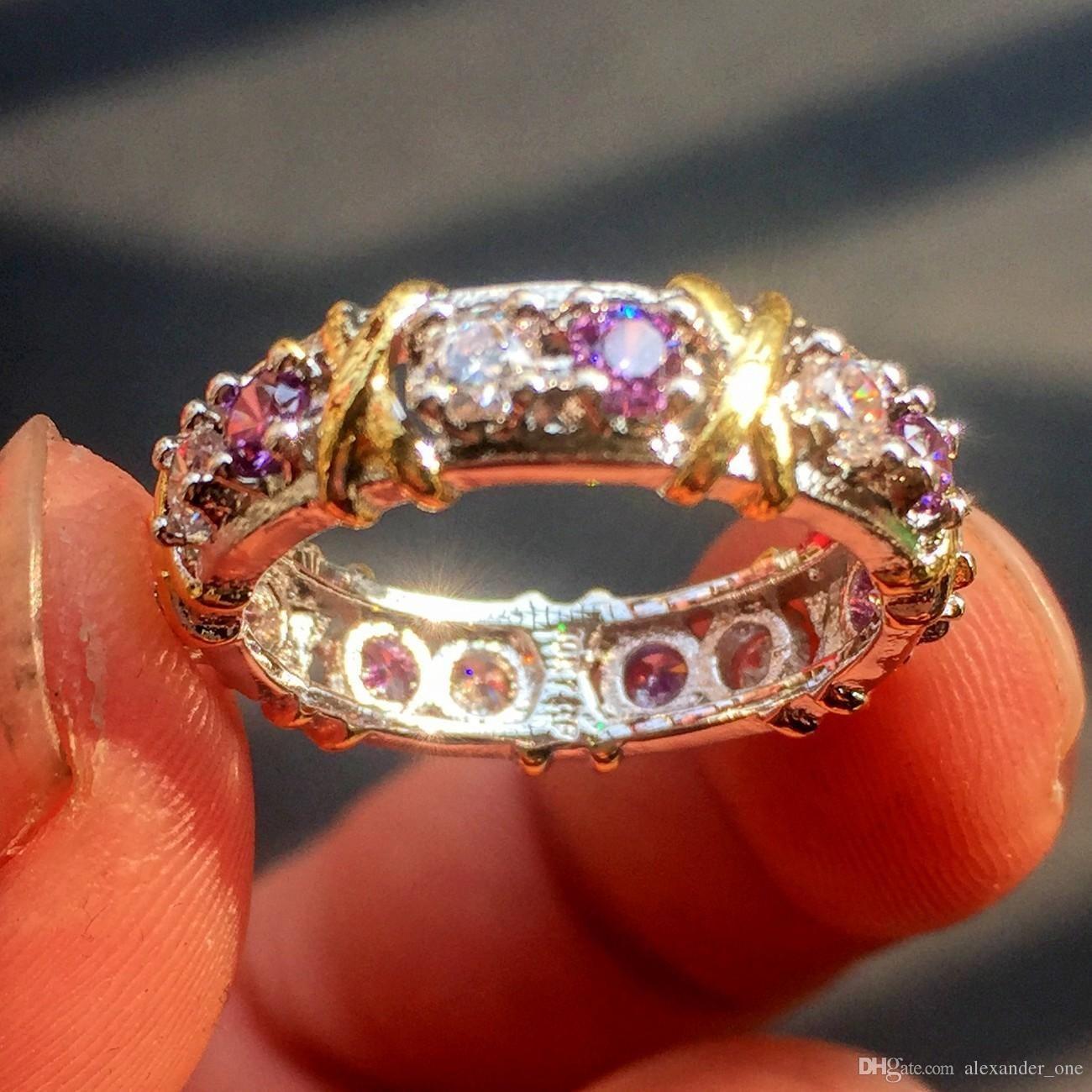 4abadd1f9d22 Compre Marca Jewlery Mujeres 925 Plata Púrpura Diamante Simulado Cubic  Zirconia Tanzanite Oro Amarillo Cruz Eterno Anillo De Bodas Banda A  14.08  Del ...