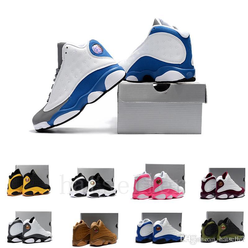 on sale 43892 64b13 Großhandel Jungen Mädchen 13 Kinder Basketball Schuhe Italien Blue Hyper  Royal Black Katze Gezüchtet Kinder DMP Playoff Sport Geburtstagsgeschenk 13s  ...