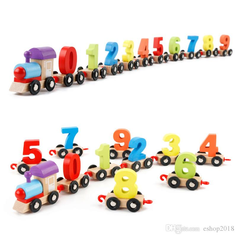 Childrens Wooden Building Block Number Cognitive Train Colorful Educational Digital Puzzle Wooden Trains Kids Assembly Puzzle Toys