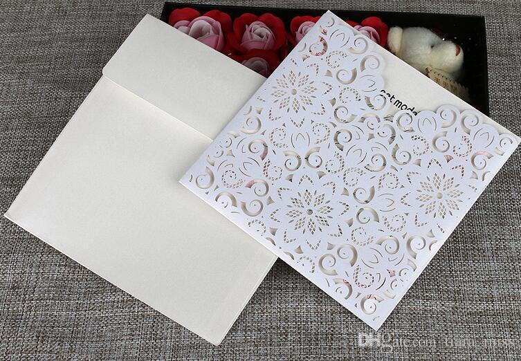 wedding invitation card laser cut folded invitation valentine