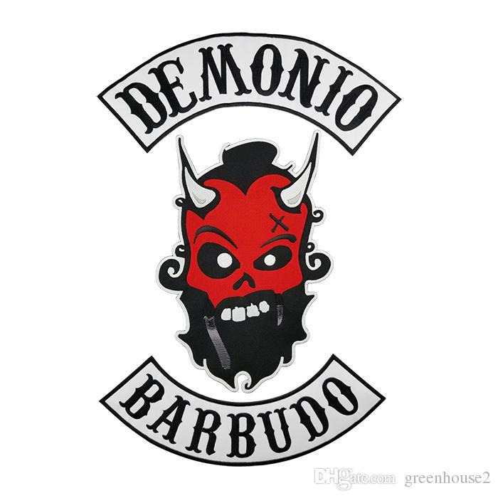 Compre Demonio Barbudo Mc Club Biker Chaleco Bordado Parche Espalda ...