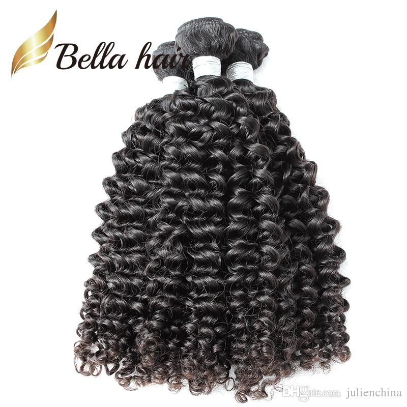 / toppkvalitet brasilianska håret 10-24 tums klass 9a naturlig svart lockig mänsklig väv Julienchina bellahair