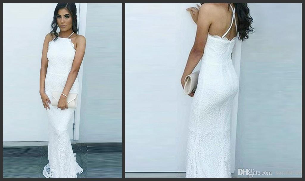 2018 Simple White Lace Mermaid Prom Dresses Criss Cross Straps ...