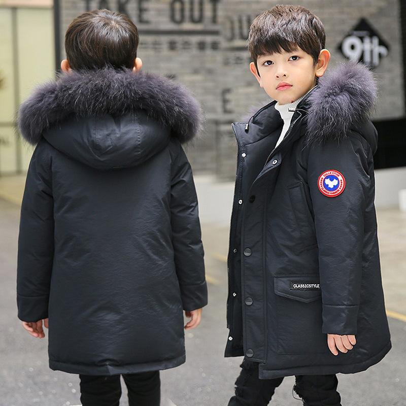 f6772018351b Kids Jacket Winter Boys Made Of Goose Feather Down Coat With Fur ...