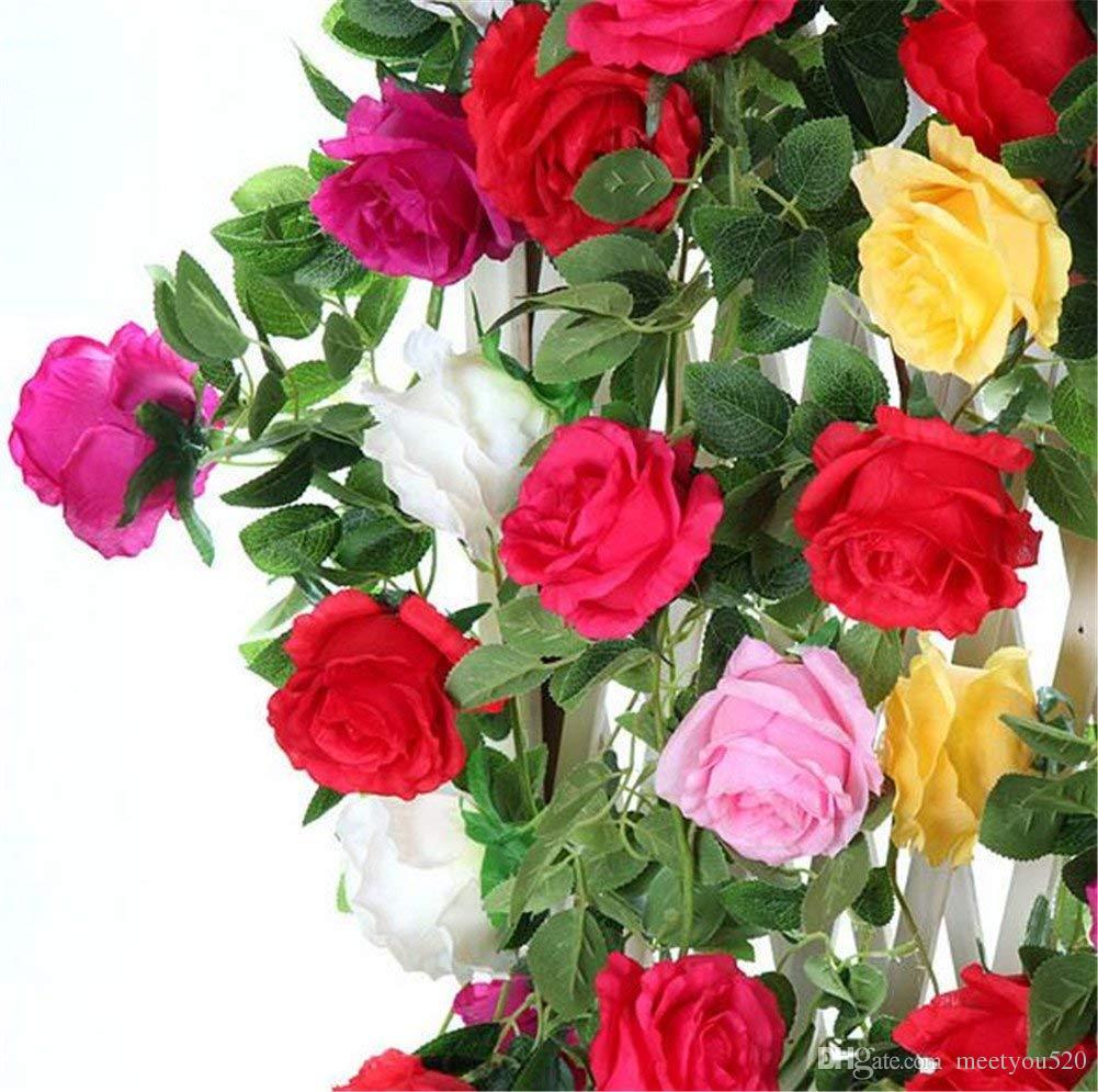 2018 52ft Artificial Rose Vine Flower Fake Rose Garland Silk Plants