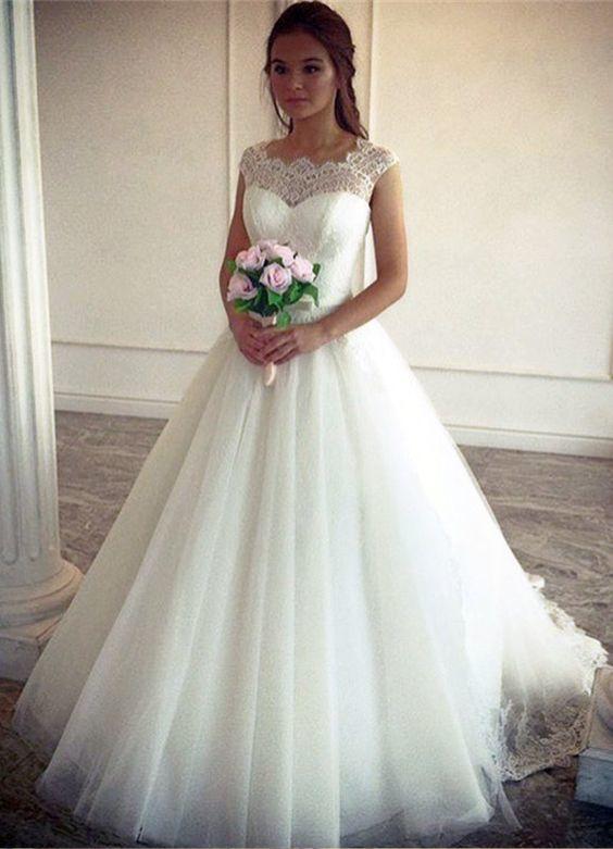 68a46e7dc Vestido De Madrinha De Casamento Sheer Lace Vestidos De Noiva Barato Vestido  De Baile Princesa Cap Manga Tule Vestido De Noiva Até O Chão Com Faixa  Vestidos ...