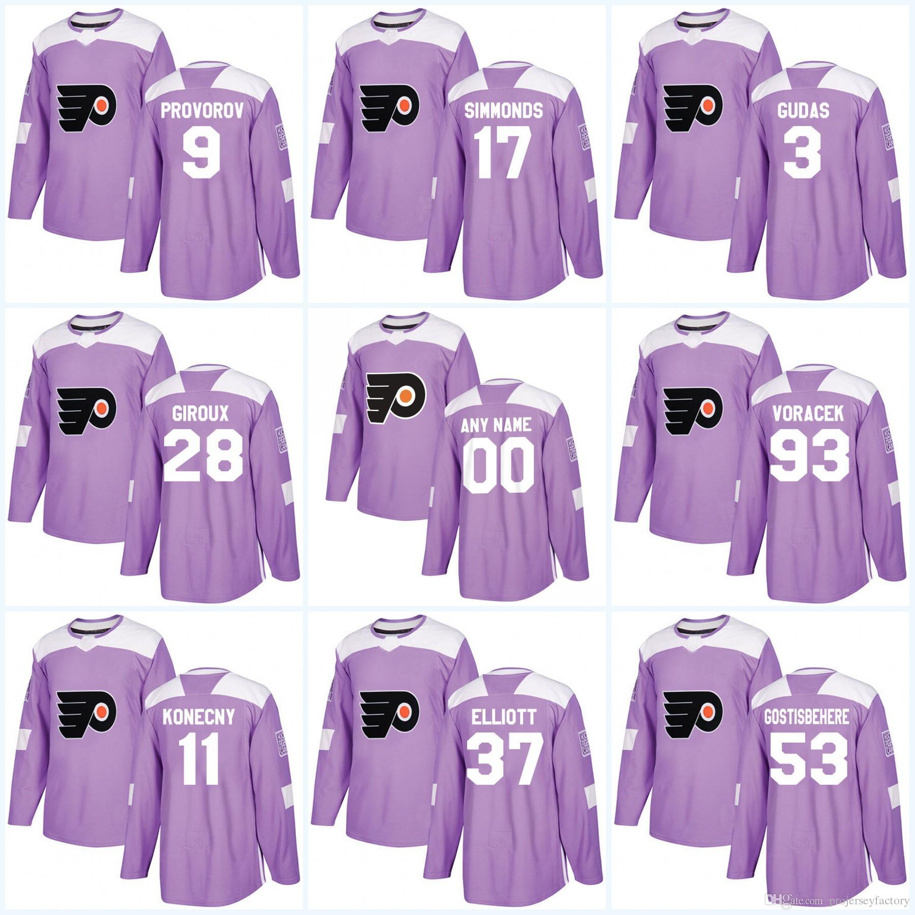 97c471d90 2019 28 Claude Giroux Philadelphia Flyers Purple Fight Cancer Practice  Shayne Gostisbehere Wayne Simmonds Ivan Provorov Travis Konecny Jersey From  ...