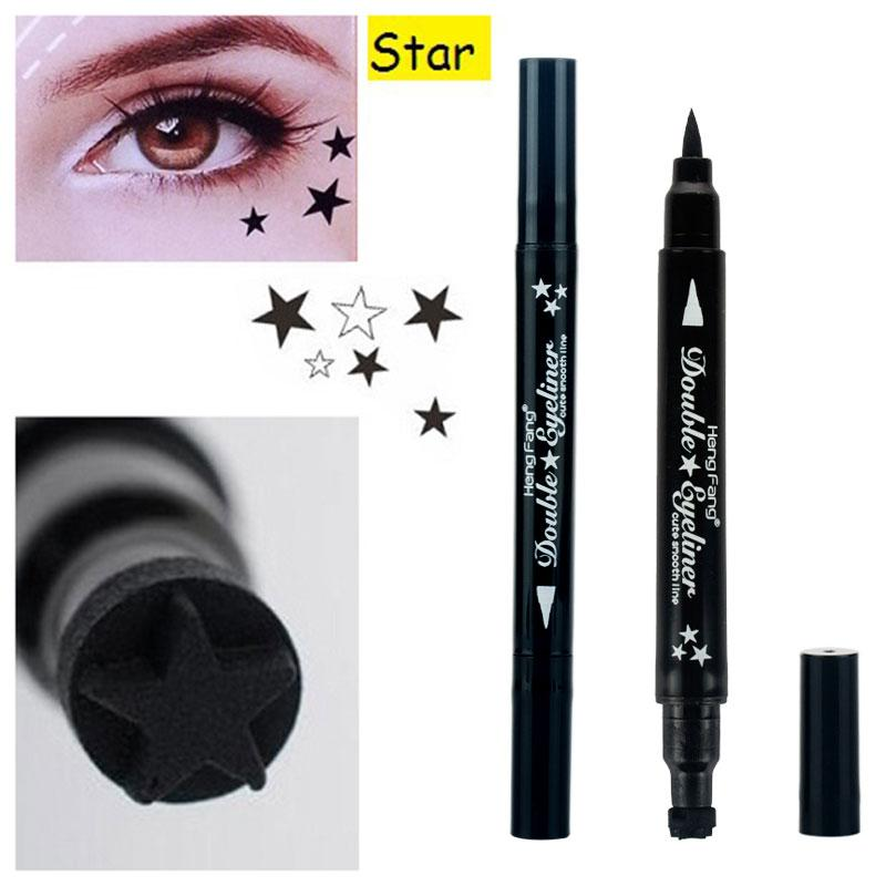 Brand Waterproof Black Eyeliner Pen With Moon Heart Star Stamp Eyes Makeup Liquid Eye Liner Pencil Seal Long-lasting Cosmetics Beauty Essentials