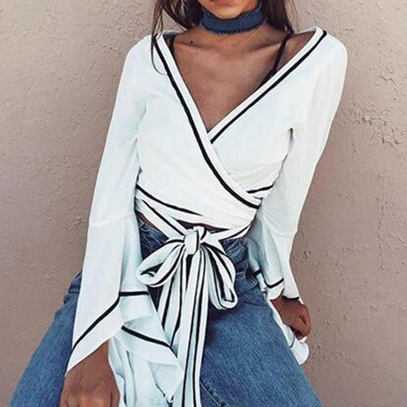 ece8e903684 White Wrap Blouse Sexy V Neck Bell Sleeve Cross Bandage Crop Tops Women  Summer 2018 Tie Waist Short Blusa Online with  39.25 Piece on Modeng08 s  Store ...