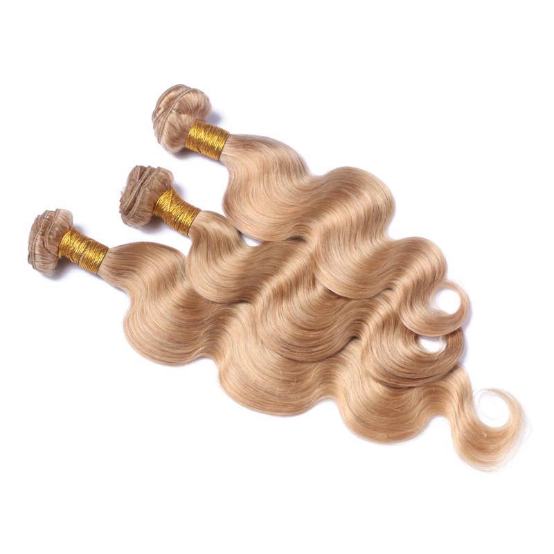Miel Rubia Oreja a oreja Encaje Frontal Cierre 13x4 con paquetes Onda del cuerpo # 27 Fresa Rubia Maquillaje del pelo de Malasia Paquetes con frontal
