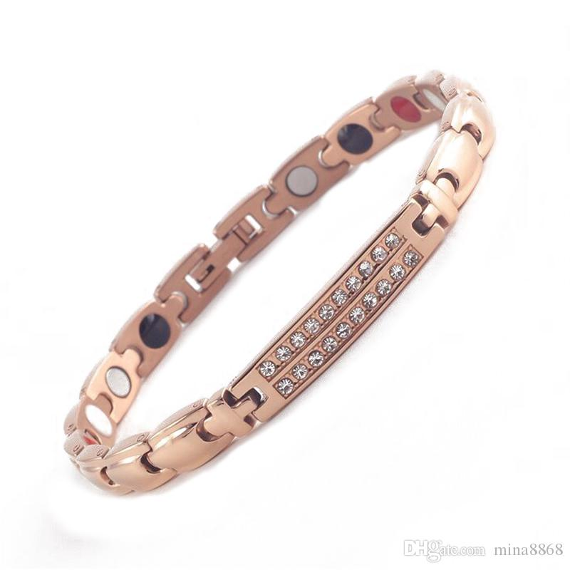 New Design Silver/gold color healing Energy Bracelet for women men Germaniums Stainless Steel Healthy Bracelets with Rhinestone gifts