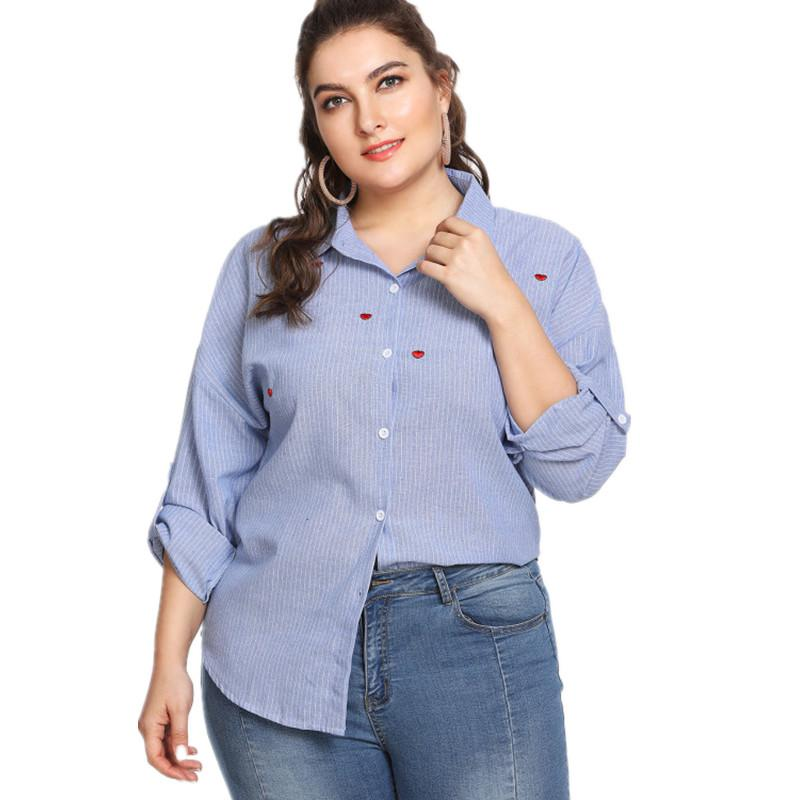 Compre Mujeres Del Tamaño Extra Grande Blusas De Rayas De Algodón Camisa  Azul Formal De Manga Larga Señoras Camisas De Oficina Ropa De Trabajo  Femenina ... ce8a408a3f1