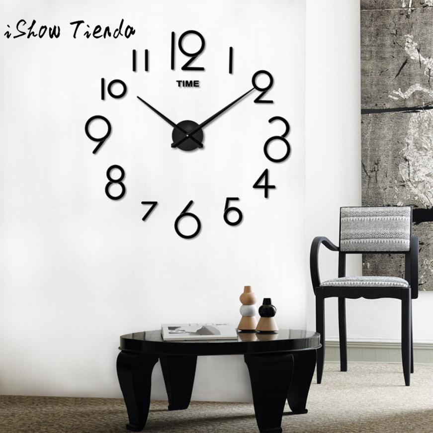 Wall Clock Living Room Diy 3d Home Decoration Mirror Large Art ...