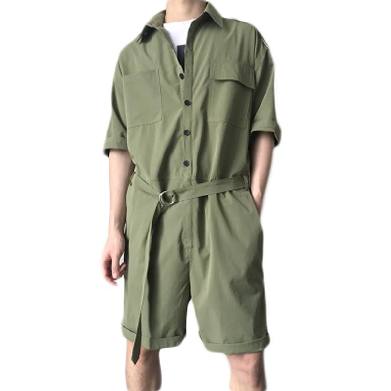 2019 Summer Mens Cargo Short Pants Jumpsuits Fashion One Piece With Belt  Design Harajuku Short Sleeves Pockets Overalls Male Rompers From  Sunflowery 71bd1f573a6