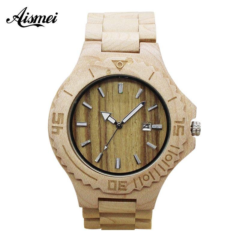 2018 Top Luxury Brand Wooden Watch Mens Calendar Auto Date Watches Fashion Casual Full Wood Quartz Watch Relogio Masculin Drop