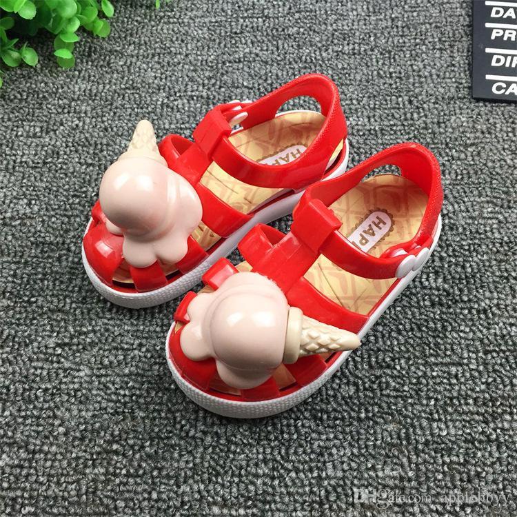 Sommermädchenmädchensandelholze Schuhe der koreanischen Kinder Eiscreme beiläufige Schuhe Romane 4 Farbe DHL geben Verschiffen frei