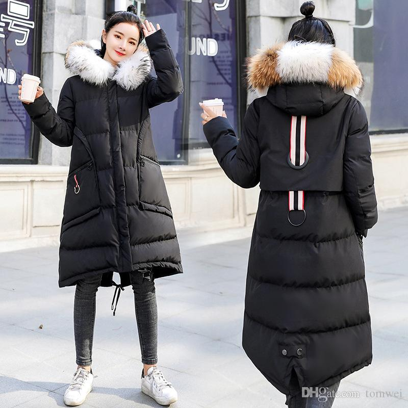 d8607b402 Ladies Coats Korean Winter Jackets Raccoon Fur Collar Down Cotton Parkas  Hooded Womens Clothing 2018 New Fashion M L XL