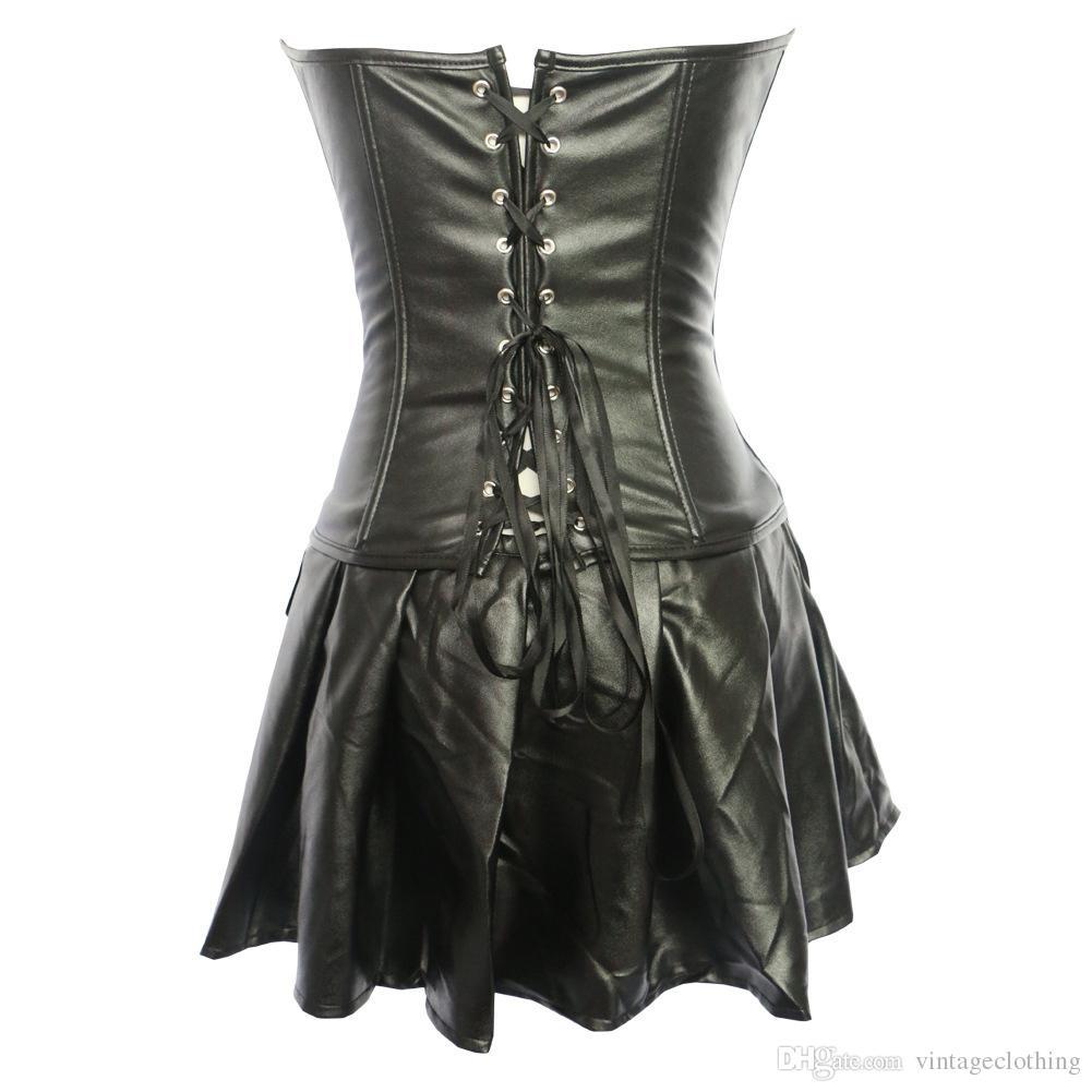 Frente Zipper Espartilho Sexy Erótico Faux Leather Envolto No Peito Espartilho Vestido de Festa Fetiche Preto Lingerie Nightwear Plus Size S-6XL