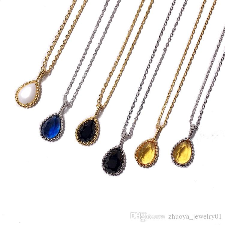 2018 hot women fashion jewelry Copper gold plated drop shaped necklace round bead side multi faceted crystal necklace party gift