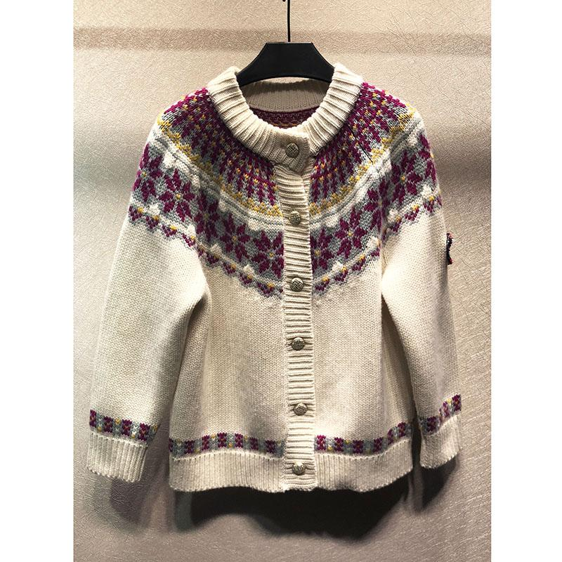 new product f6d06 f7c62 Mling Lisa-Ski Serie Knopfdekoration 100% Wolle Strickjacke hochwertige  Damen Pullover Mantel Freizeit Pullover Top