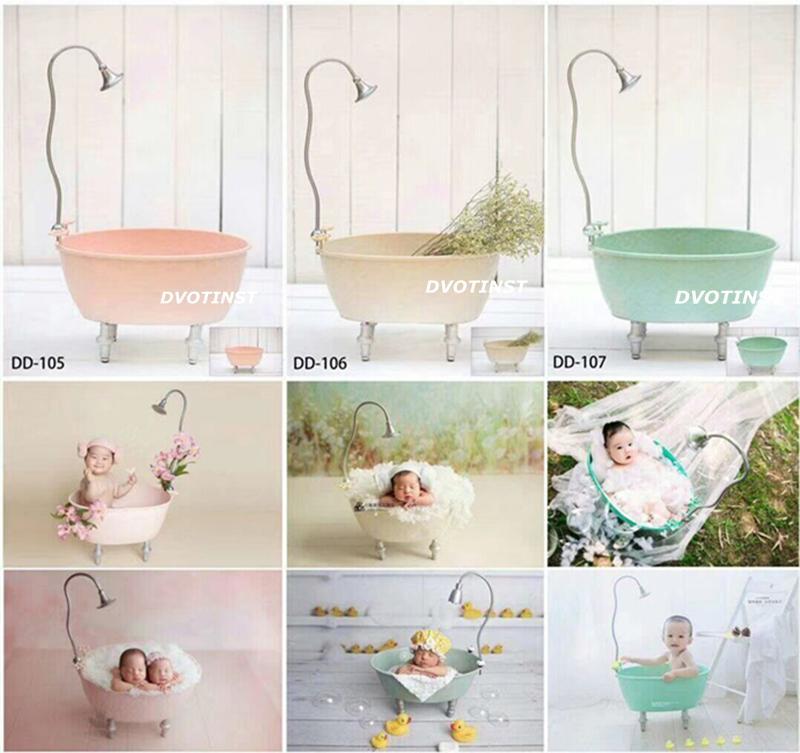 2019 Dvotinst Newborn Photography Props Iron Bathtub Shower Bucket