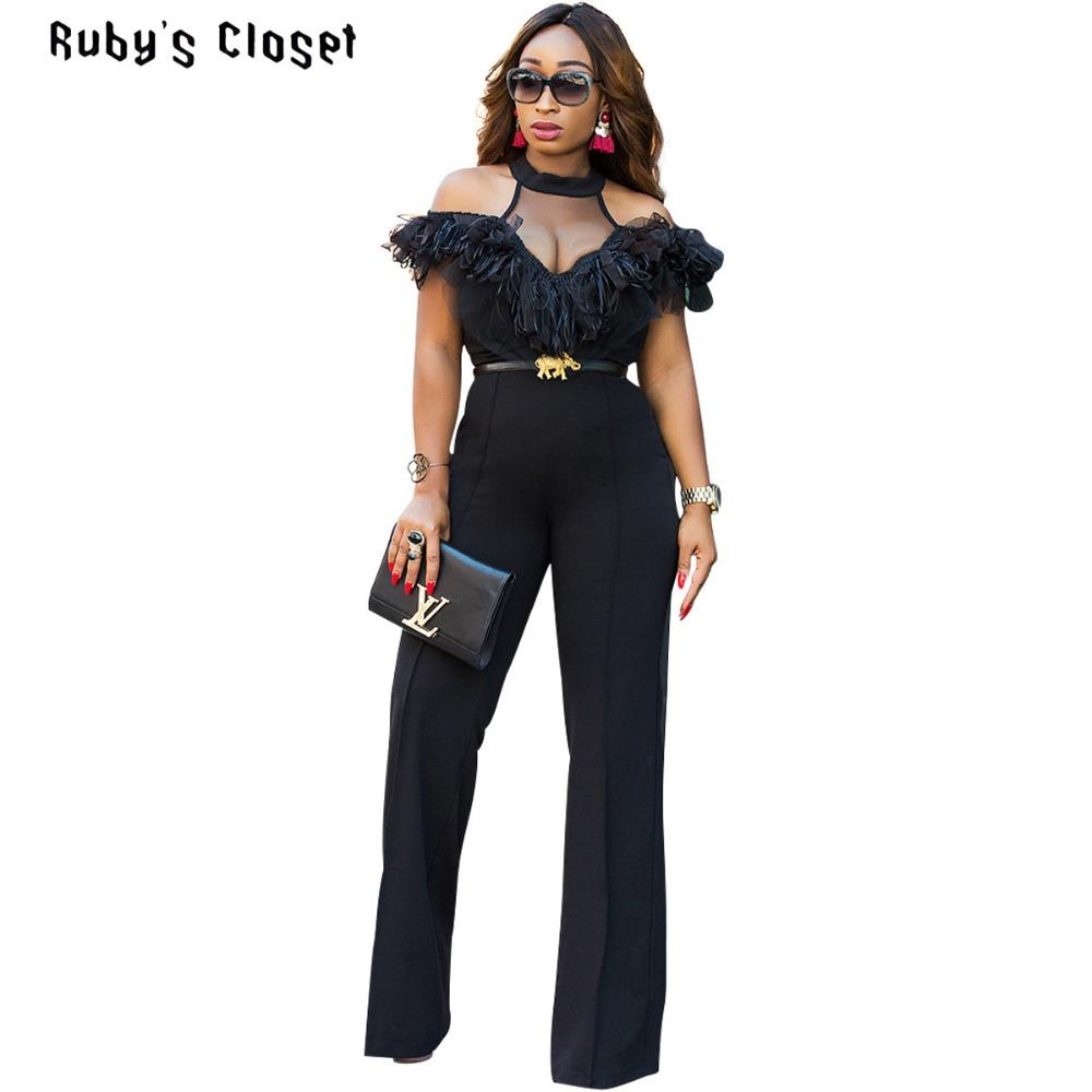 749bf919045 2019 Ruby S Closet Hot Selling Women Black Jumpsuits Off The Shoulder Lace  Mesh Spliced High Waist Wide Leg Halter Rompers ZSC G074 From Insideseam