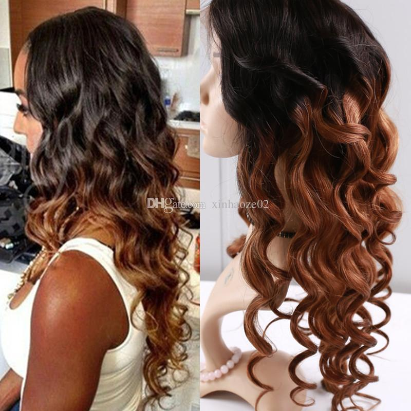 Brazilian Ombre human hair wigs full lace body wave human hair wigs lace front #1bT30 two tone color human hair wigs