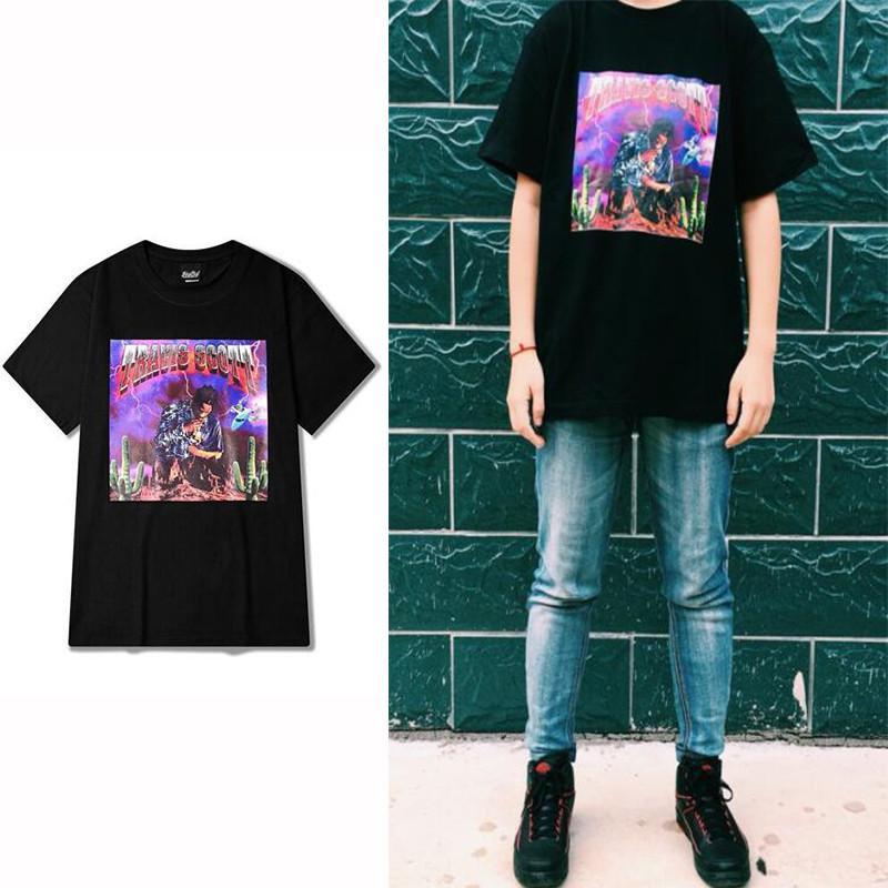 4410bb53b8968 Wholesale-Rock Punk Short Sleeve T shirt Men VINTAGE TRAVIS SCOTT Fashion  Style Black Special Printed Tee shirt Homme Casual Tees S-XXXL