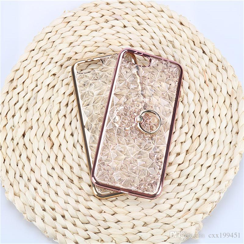 El anillo especial de la reina 3D Kickstand diseña el diamante suave para la caja femenina del teléfono para el caso del teléfono de Iphone X Envío libre de DHL