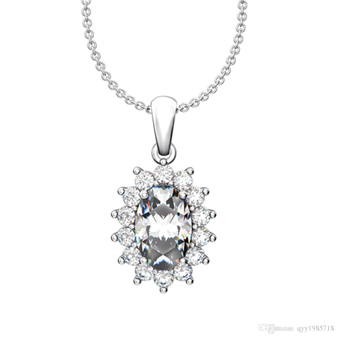 8d2a30e5b4e Wholesale Pretty 2Ct Oval Cut Synthetic Diamonds Pendant Sterling Silver  Swearter Pendant Necklace White Gold Color Jewelry Free 925 Chain Snowflake  Pendant ...