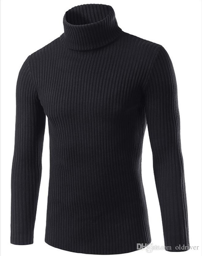 Winter High Neck Warm Sweater Men Turtleneck Mens Sweaters Slim Fit