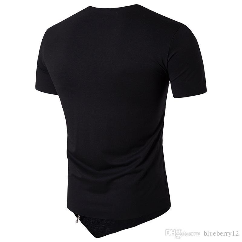 High Street Fashion Männer Unregelmäßige t-shirt Reißverschluss Designer Patchwork Top Kleidung Männer Rundhalsausschnitt T-shirt Sommer Shirts