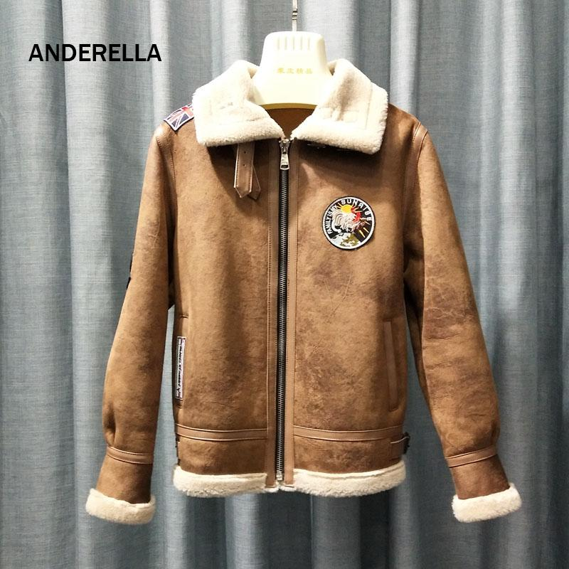 official photos ae382 74632 ANDERELLA Giacca in pelle finta inverno donna 2018 Natural Real Giacca in  pelliccia montone con montone in montone con fodera in shearling