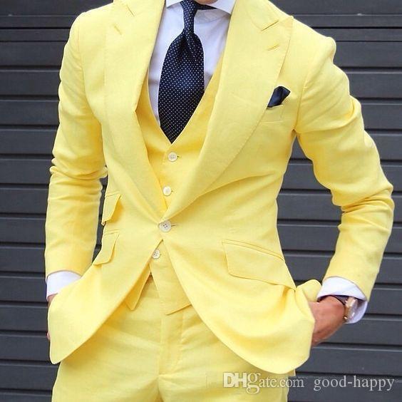 New Handsome Peakedl Lapela Um Botão Brilhante Amarelo Homens De Casamento Melhor Ternos Smoking Ternos Homens Festa Ternos Jacket + Pants + Tie + Vest NÃO; 206