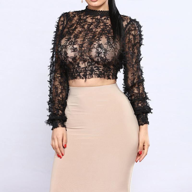 2019 2018 Summer Fashion Mesh Shirt See Through Crop Tops Women Spring Long  Sleeve Sexy Ladies Blouses White Black S XL From Wanglon01 1756cf005320