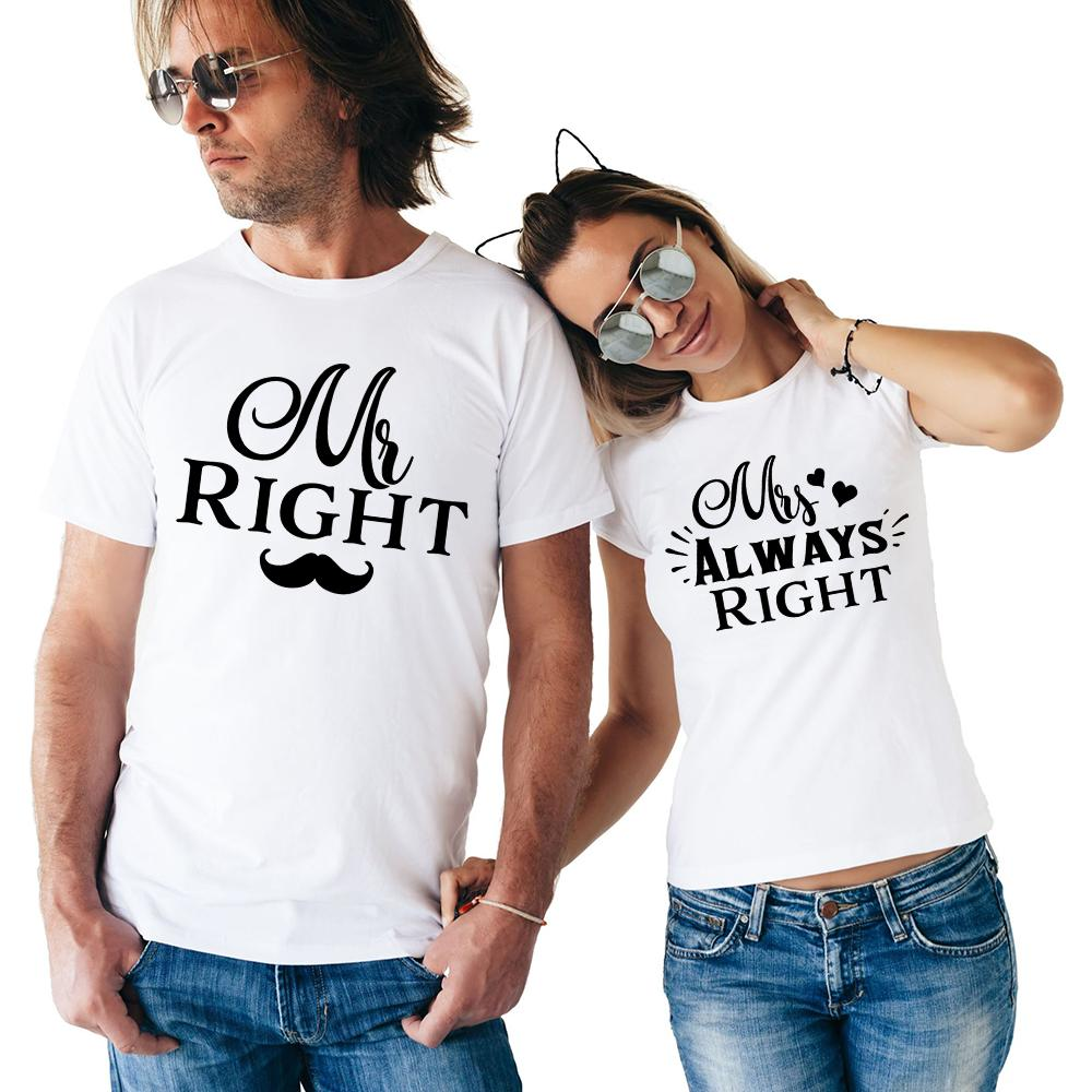 Cartoon Couple Design Tees Shirts Couple Tee Tops T Shirt: Compre Pareja A Juego Camiseta Mr Right Sra. Siempre A La